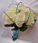 white rose with bead detail